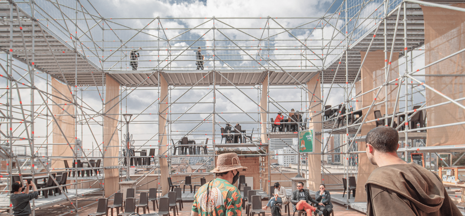 A multipurpose outdoor venue made out of scaffolding